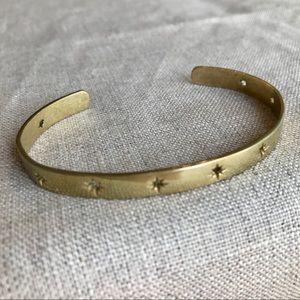 Star Motif Thin Brass Bracelet